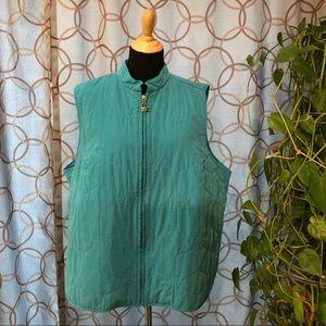 C. J. Banks Turquoise Snowflake Zip Vest Size 3X